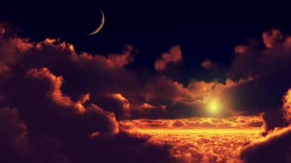 Обои Облачное небо с солнцем и месяцем