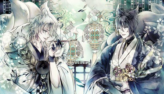 Обои Kogitsunemaru / Когитсунемару и черный демон-лис из игры Touken Ranbu / Танец мечей