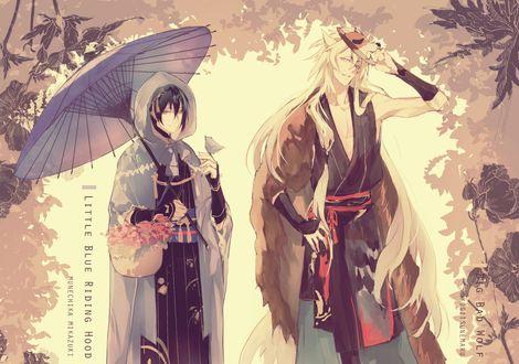 Обои Kogitsunemaru / Когитсунемару и Munechika Mikazuki из игры Touken Ranbu / Танец мечей
