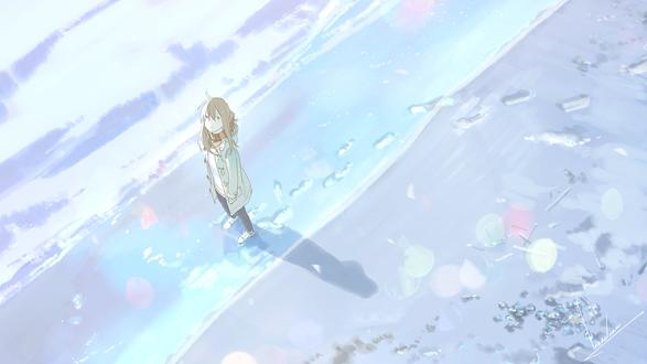 Обои Девушка на морском берегу, by loundraw