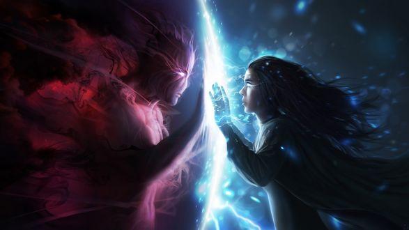Обои Демон и человек пытаются коснуться друг друга через магический барьер