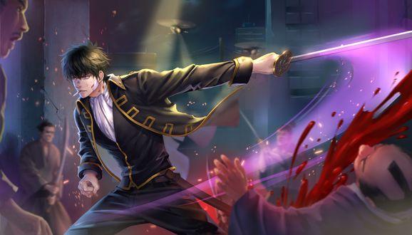Обои Hijikata Toushirou / Хиджиката Тоширо с сигаретой сражается с самураями из аниме Гинтама / Gintama