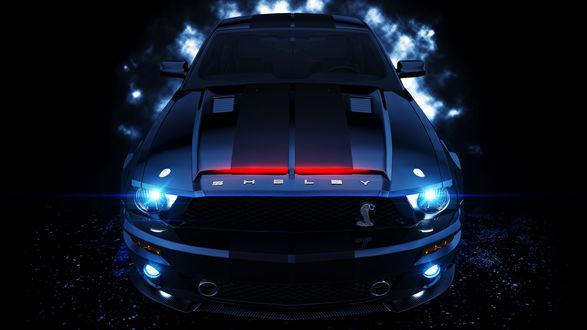 Обои Ford Mustang Shelby GT 500 / Форд Мустанг Шелби GT 500 на темном фоне