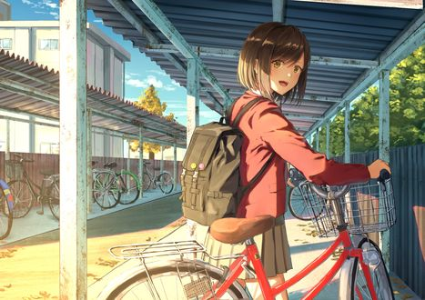 Обои Девочка с рюкзаком и велосипедом на школьном дворе