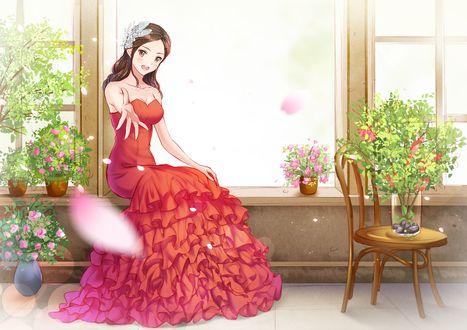 Обои Девушка в красном бальном платье сидит на подоконнике у открытого окна, протянув руку вперед