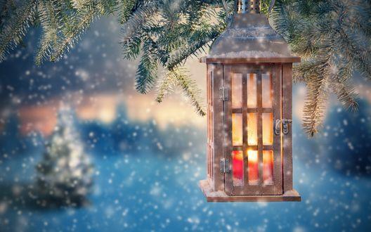Обои Ёлочный новогодний фонарь