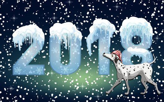 Обои Новый 2018 год- год собаки, цифры и долматинец под падающим снегом
