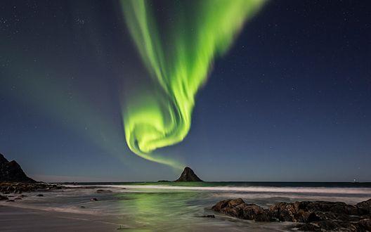 Обои Северное сияние на острове Andоya, Norway / Андоя, Норвегия, фотограф Frank Olsen