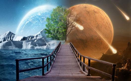 Обои Мост, разделяющий две планеты, by DARKLIGHTANIME