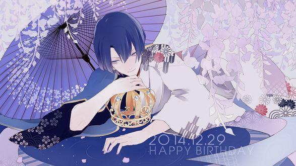 Обои Jinguji Ren / Рен Джингуджи лежит в кимоно с короной под зонтом из аниме Uta noв�†prince-samaв™Є / Поющий принц, happy birthday