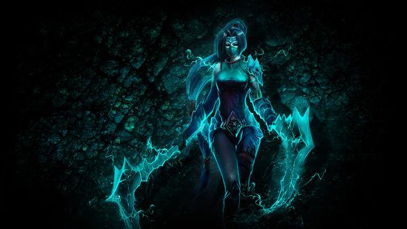 Обои Воительница с магическим оружием в пещере, Akali, |League of Legends / Акали, Лига Легенд