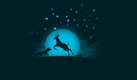 Обои Силуэты оленя, лисы и трех черепах на фоне полной луны, by 0l-Fox-l0
