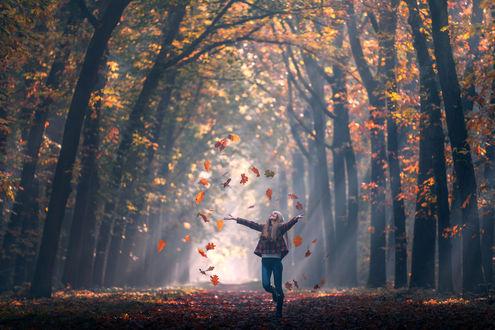 Обои Радостная девочка стоит под падающей осенней листвой на дороге, фотограф Ilhan Eroglu