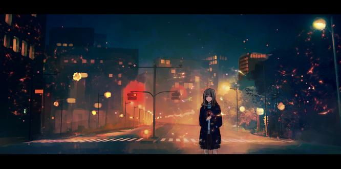 Обои Девушка стоит на фоне ночного города