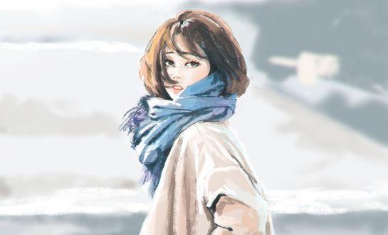 Обои Девушка в шарфе на фоне облачного неба, by Sergey Orlov