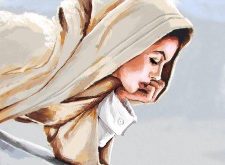 Обои Задумчивая девушка держит руку у лица, by Sergey Orlov