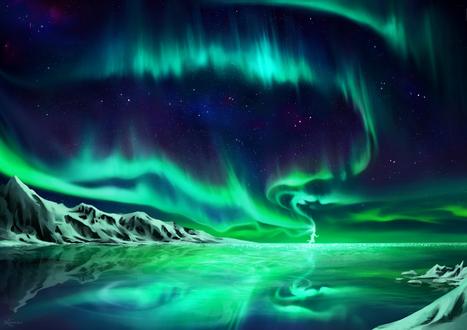 Обои Картина северного сияния на небе, by keerei
