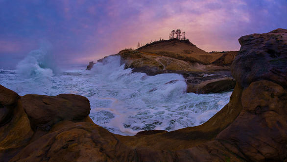 Обои Побережье Орегона с большими грохочущими волнами, фотограф Bsam