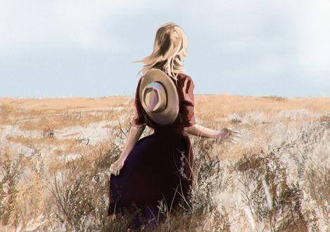 Обои Девушка с шляпой за спиной стоит в поле, by Sergey Orlov