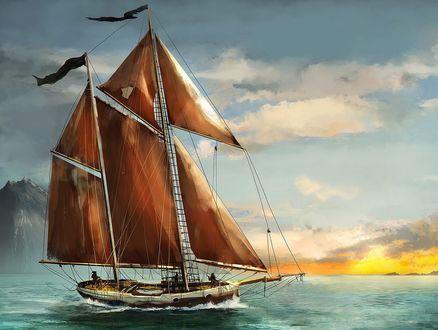 Обои Парусник на воде на фоне облачного неба, by gromwulf