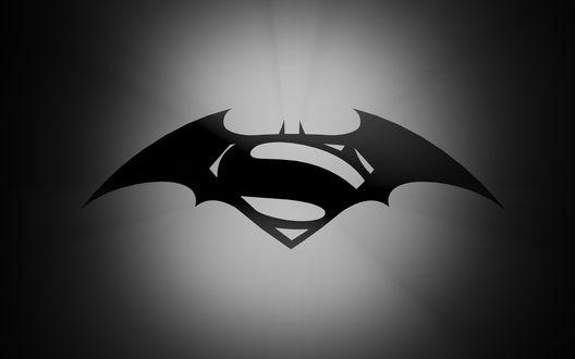 Обои Бетмен и супермен в одном символе