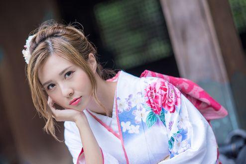 Обои Девушка - азиатка в кимоно, фотограф Robin Huang