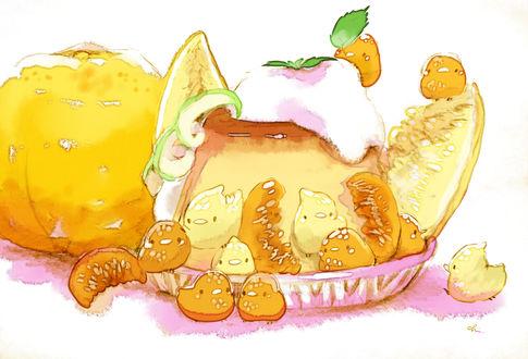 Обои Птички и мандариново-грейпфрутовый десерт