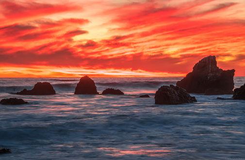 Обои Морской закат на Malibu / Малибу