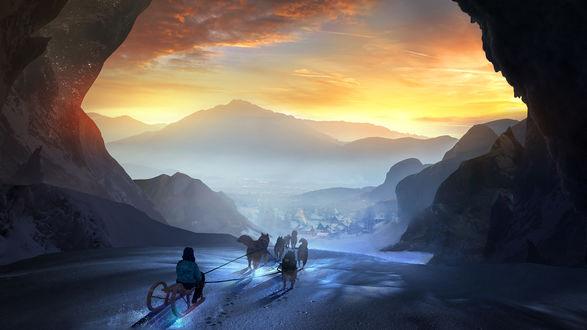 Обои Зимнее путешествие на санях, by t1na