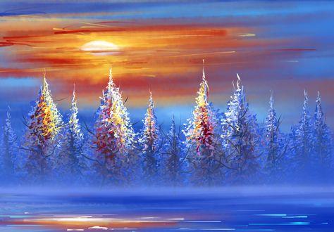 Обои Зимний пейзаж с солнцем на небе, by Khushiart