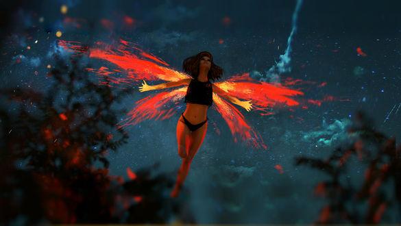 Обои Девушка - бабочка парит в воздухе, by Kaiyuan Lou