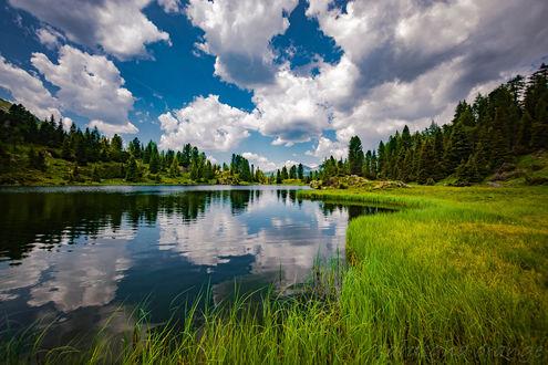 Обои Озеро Colbricon / Колбрикон под облачным небом с зеленеющей травой на берегу, фотограф sardegna orange