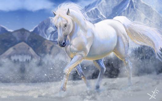 Обои Белый конь скачет по снегу на фоне гор, художник Victor Lozada