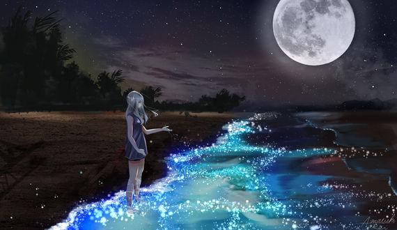 Обои Девушка в стоит в воде на фоне ночного неба с полной луной