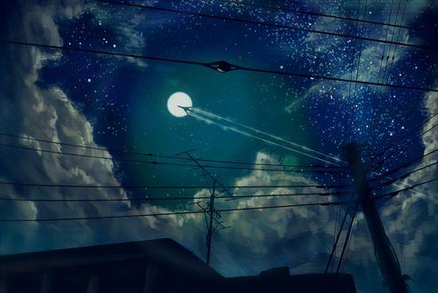Обои Линии электропередач на фоне облачного ночного неба и самолет, летящий ввысь