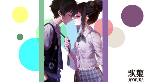 Обои Эру Читанда / Eru Chitanda держит за галстук Хотаро Орэки / Houtarou Oreki из аниме Хека / Hyouka