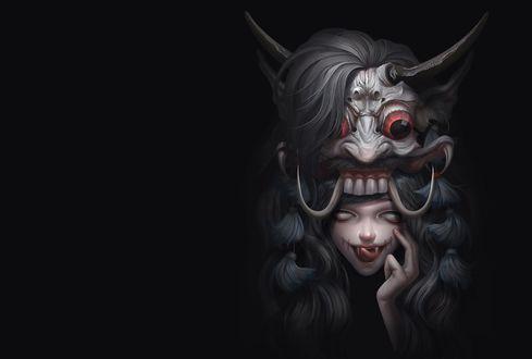 Обои Девочка-екай в страшной маске демона с рогами на голове