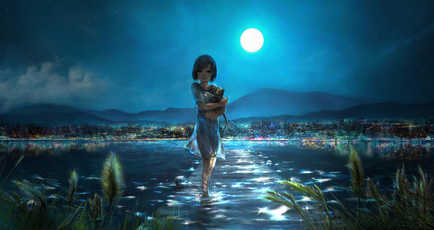Обои Девочка с котенком на руках стоит в воде, by 00