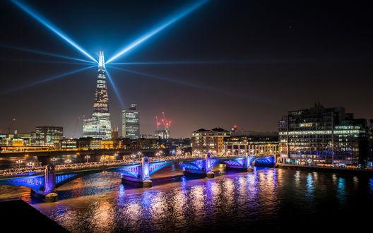 Обои Огни ночного Лондона / London, by Benjamin van der Spek