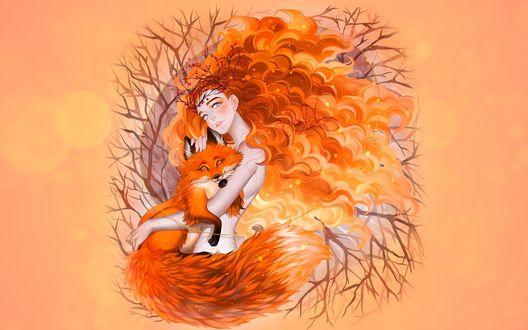 Обои Девушка-осень с кучерявыми волосами держит на руках лису, by luleiya
