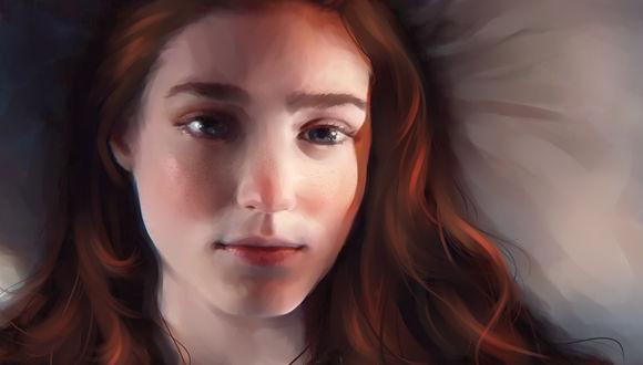 Обои Грустная рыжеволосая девушка с веснушками лежит на подушке, by roerow