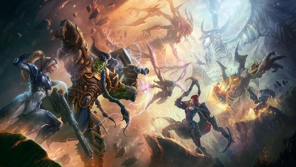 Обои Битва героев игры Heroes of the Storm с монстрами