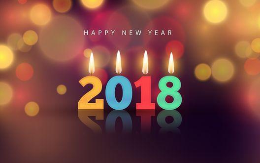 Обои Новый год, 2018, New Year - цифры с огнем на фоне боке