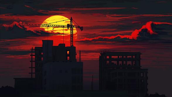 Обои Подъемный кран у строящегося дома на фоне заката
