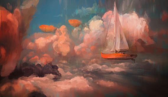 Обои Летающая лодка с белым парусом в облачном небе, by Mocaran