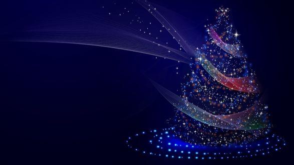 Обои Новогодняя елка в неоновой подсветке с разноцветными линиями на синем фоне