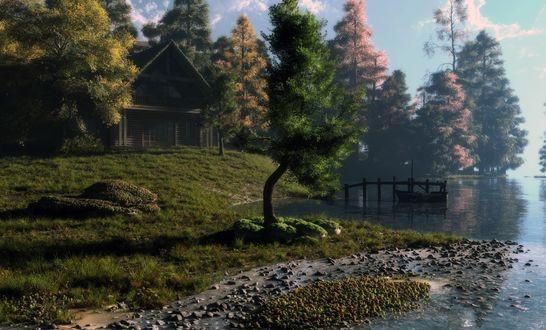 Обои Домик, стоящий на окраине леса у озера с мостиком и лодкой, by Klontak