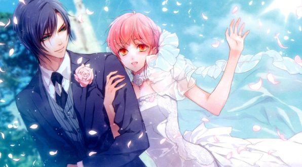 Обои Lulu и Est Rinaudo - жених и невеста из игры Wand of Fortune / Жезл Фортуны, art by Kagerou Usuba