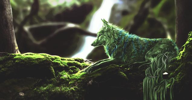 Обои Фантастический волк в лесу, by Amphispiza
