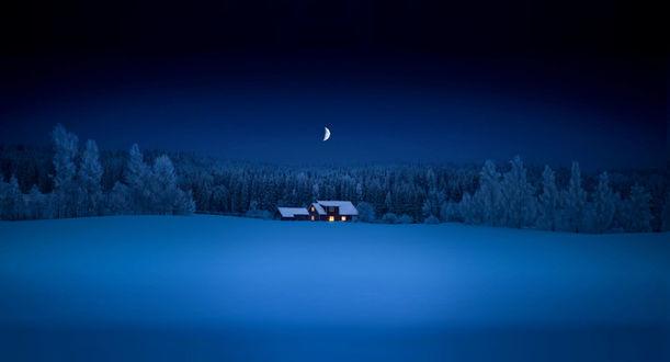 Обои Домик перед зимним лесом под ночным небом, фотограф Sven Olav Vahlenkamp